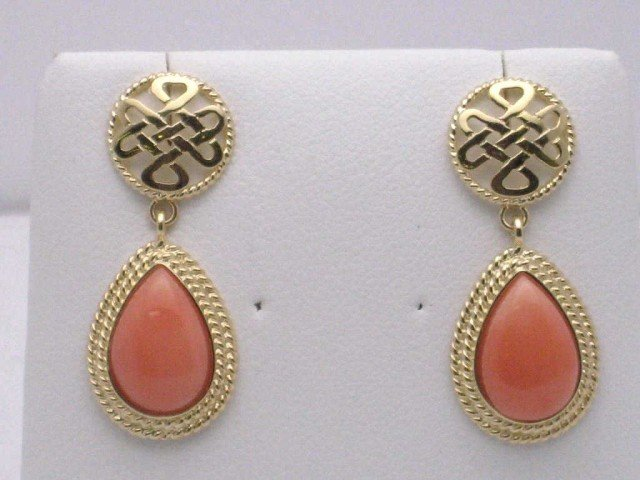 8B: 14kyg pink coral drop earrings