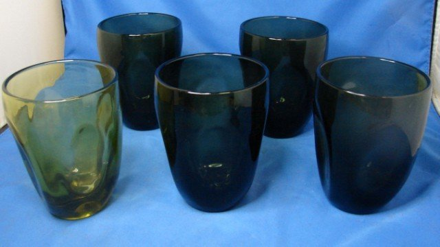 211: 5 Russel Wright Imperial Glass Co. Pinch glasses