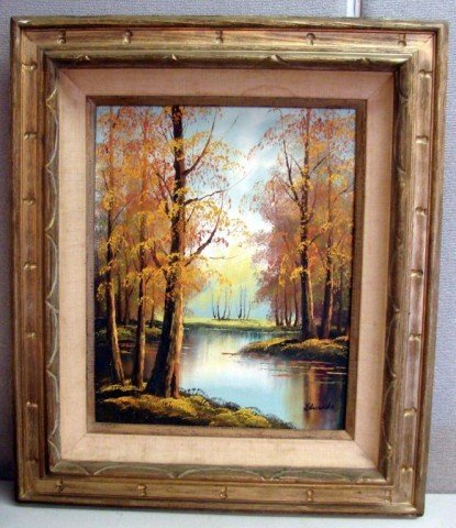 226: Original Oil Painting - Fall Scene, signed Edwards