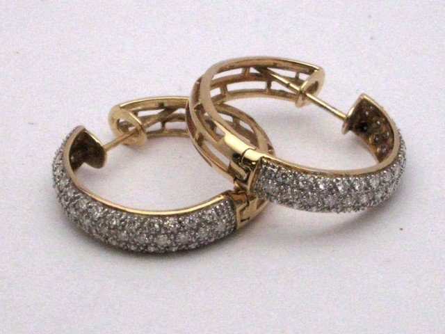 14A: 14kyg pave diamond hoop earrings 1ctw