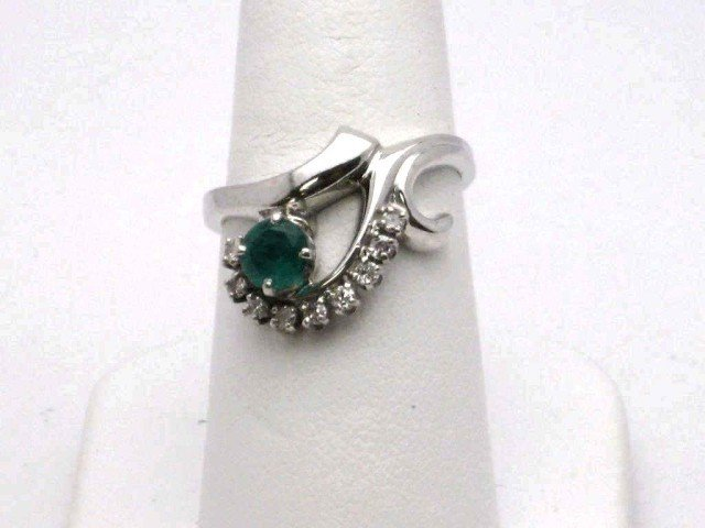 2: 14kwg emerald & diamond ring