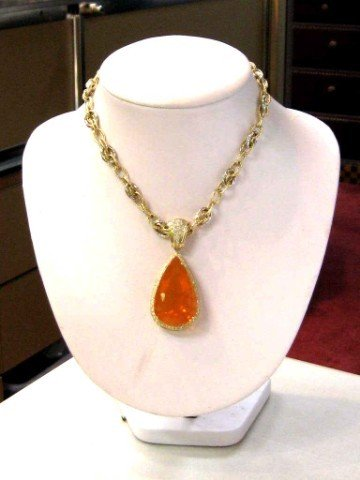 189A: 14kyg Fire Opal & diamond necklace 74.59ct GIA