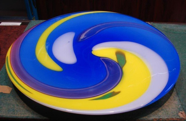 55A: Large Art Glass Plate by Fujimori for Kato Kogei
