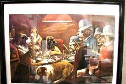 132 4 framed Gambling Doggy prints