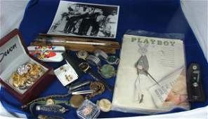 264: Vintage Lot: Playboy 1963, watches, penknives ++