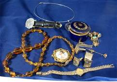 270: Vintage costume jewelry: amber, pin, Limoges box