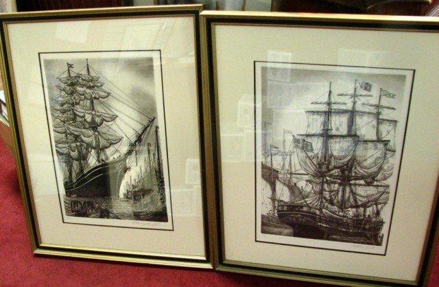 17: 4 Vintage framed Sailing Ship Prints