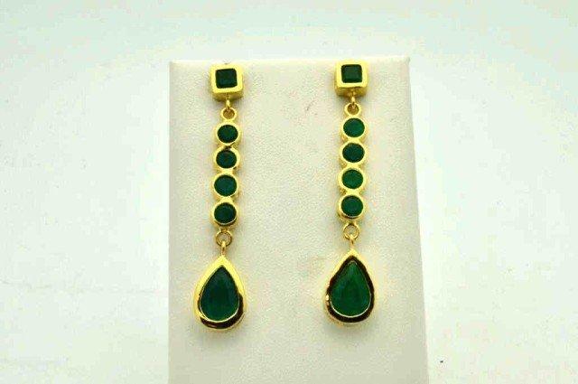 76: 18kyg emerald drop earrings 10ctw