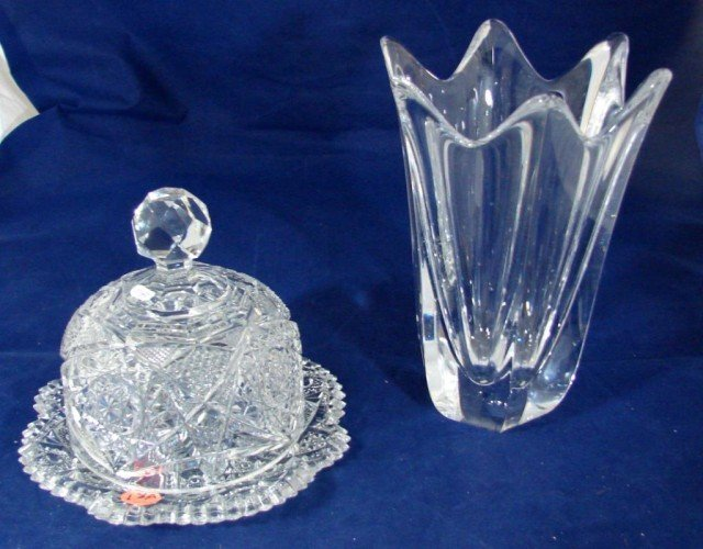 18A: Cut Crystal Butter Dish & Orrefors Crystal Vase