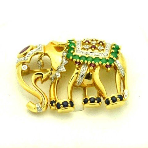 9: Emerald & ruby elephant pin  10kyg