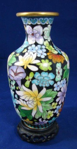 12: Cloisonné Vase on wooden stand