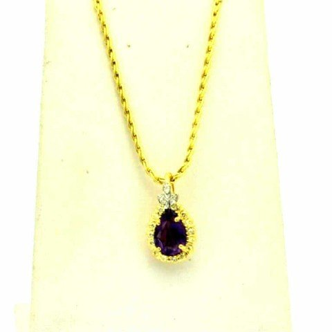 13: 14kyg amethyst & diamond necklace