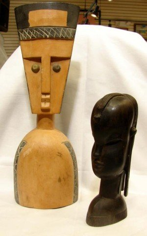 19: Carved Ebony Head, 2 Shoe Lasts, Sculpture