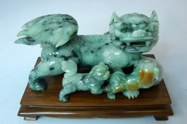 74: Vintage Chinese Jadeite Foo Dogs Highly Polished
