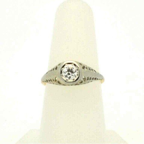 4: Vintage 14k 2tone diamond ring .40ct