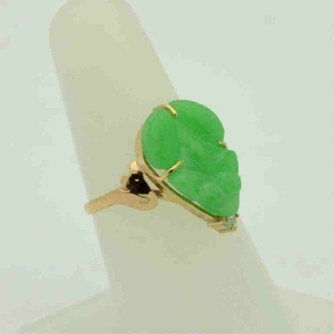 201A: 18kyg jade frog ring with diamond - 2