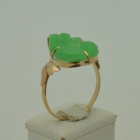 201A: 18kyg jade frog ring with diamond - 3