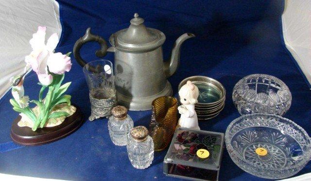 7: Box Lot: Pewter Coffee pot, coasters, etc