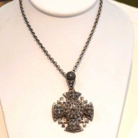 193: Vintage sterling Jerusalem cross necklace