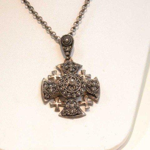 193: Vintage sterling Jerusalem cross necklace - 2
