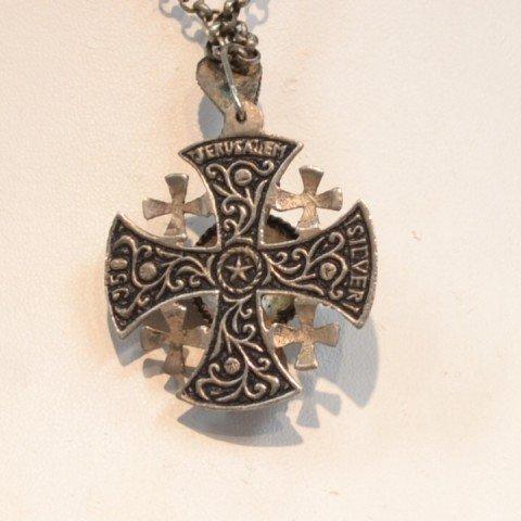 193: Vintage sterling Jerusalem cross necklace - 3