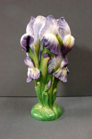 2: Hand Painted Franklin Mint  The Indigo Iris Vase