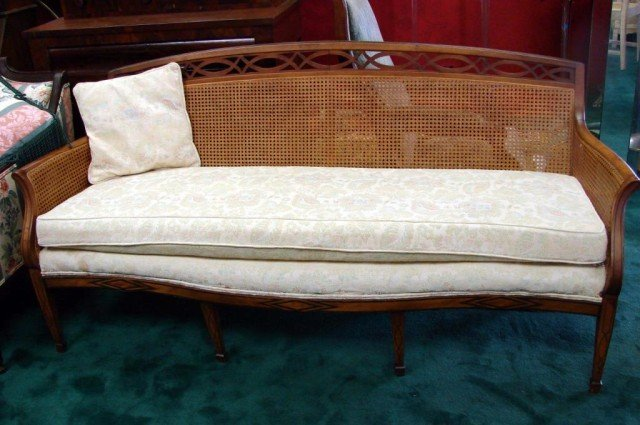 150D: Vintage Cane Back Sofa, 2 Chairs, Sofa Table