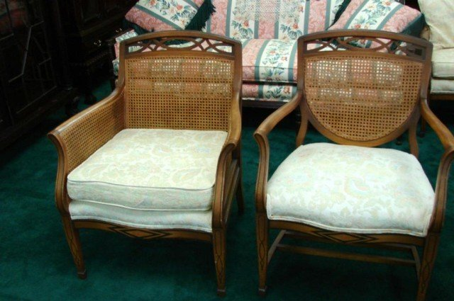 150D: Vintage Cane Back Sofa, 2 Chairs, Sofa Table - 2