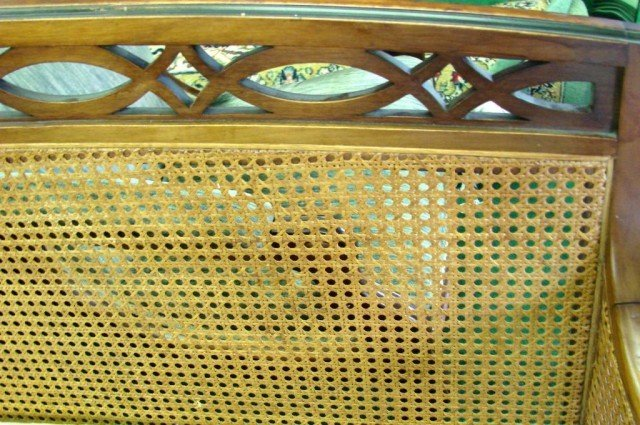 150D: Vintage Cane Back Sofa, 2 Chairs, Sofa Table - 3