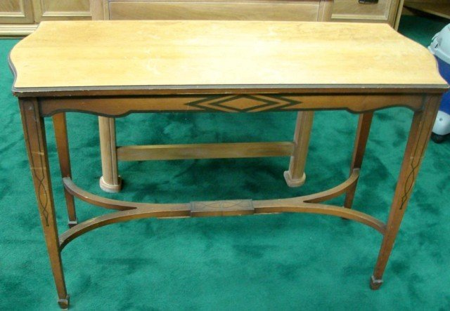 150D: Vintage Cane Back Sofa, 2 Chairs, Sofa Table - 4