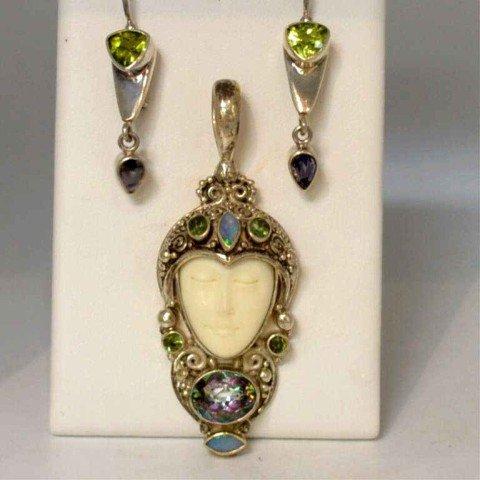 295: Sterling Sajen Goddess pendant & earrings