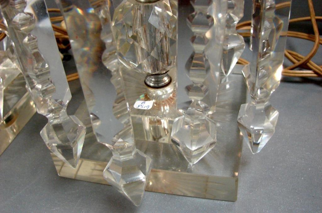 99A: Pair Vintage Crystal Hurricane Lamps -  20 prisms - 4