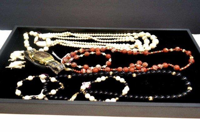 1: Lot of ivory, onyx & jasper jewelry