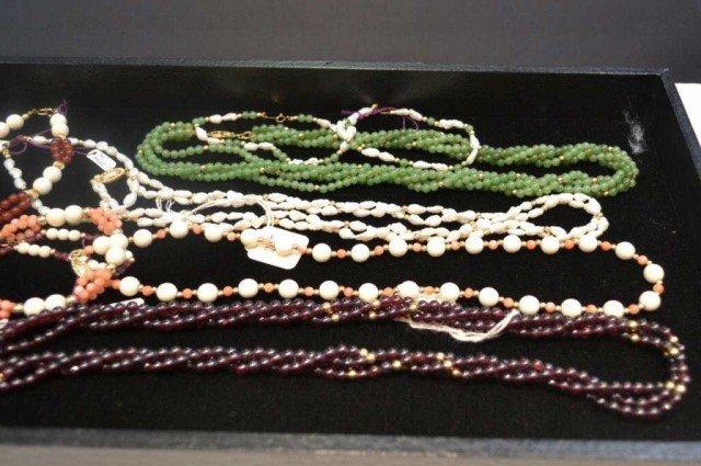 2: Lot of ivory, coral, jade & garnet necklaces