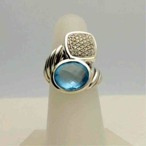 5: Sterling blue topaz& diamond ring David Yurman