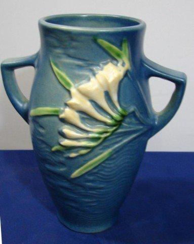 """8: Roseville Handled Freesia Vase - blue 6 1/4"""""""