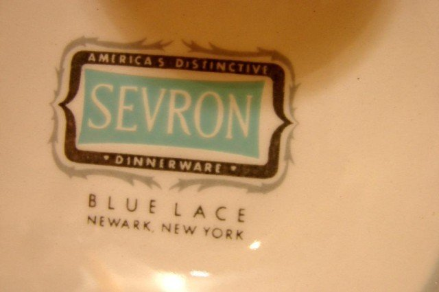 12: Retro Look Blue Sevron China Service for 6 - 4