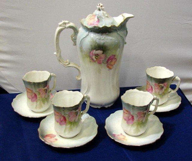 15: R. S. Prussia Chocolate Pot & 4 cups & saucers