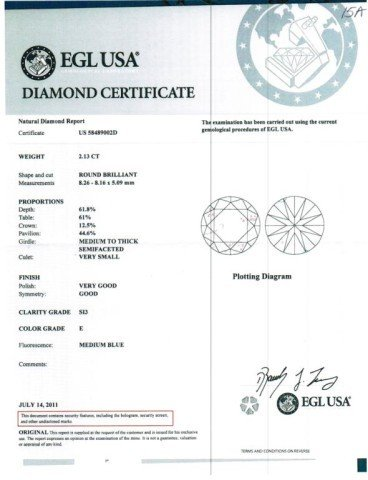 15A: 2.13ct RBC diamond E/SI3 EGL