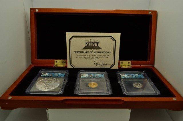 10G: 2007 Tri-Metal 3pcs Perfect Coin Set F/S W/B