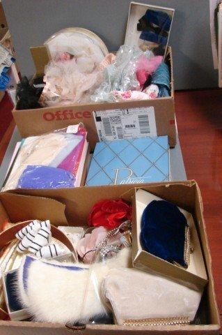 3: Vintage lot: Nylon Stockings, tiaras, cosmetic bag