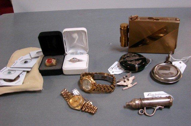264: English Matchsafe, Jade Pendant, costume jewelry