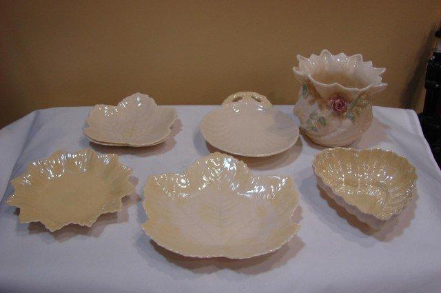11: 6 Belleek Decorative Dishes & 1 Vase