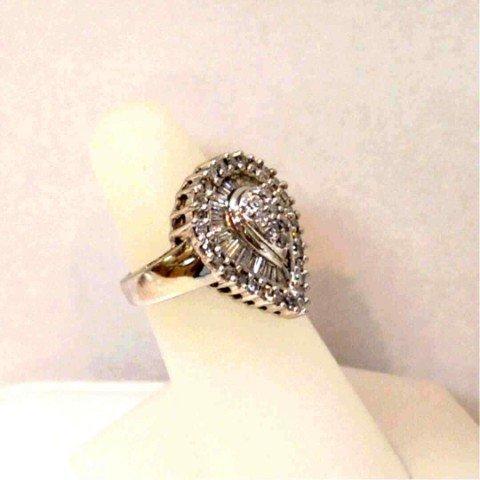 117: 14kwg teardrop diamond ring 1.50ctw - 2