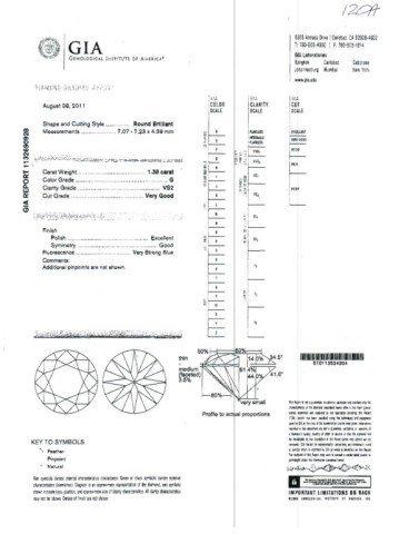 7A: 1.38ct RBC diamond G/VS2 GIA