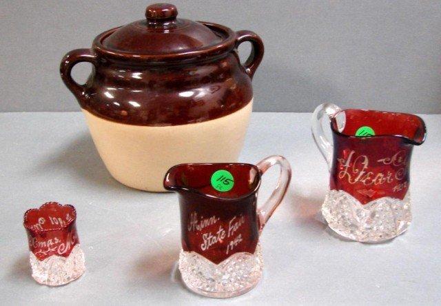 6: 3 Vintage Cranberry Crystal cups c1900, Bean Pot