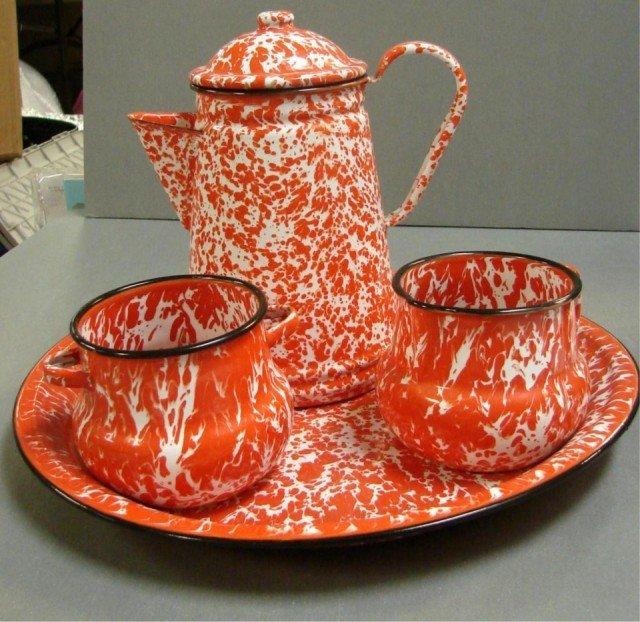 7: Vintage red speckled graniteware coffee pot .