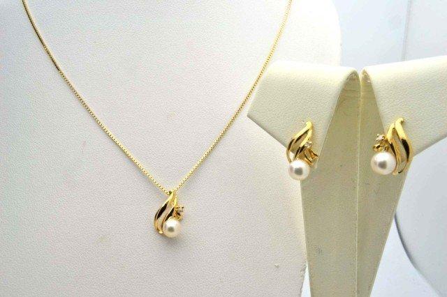 9A: 14kyg pearl & diamond pendant & earrings