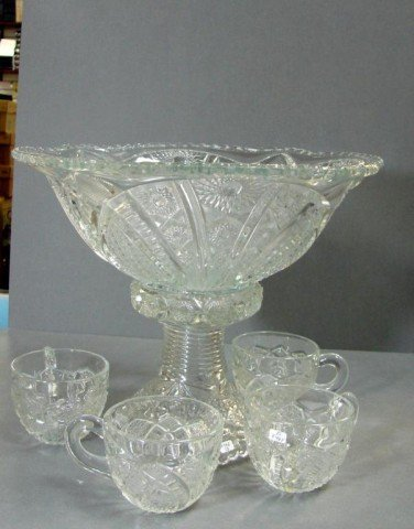 14: Vintage Pressed Glass Punch Bowl on Stand + 4 cups