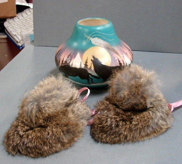 16: Hozoni Pottery Wolf Pot, Indian Fur Booties, Book